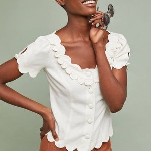 Maeve by Anthropologie White Scallop Button up Top